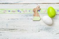 Easter eggs on a white background with copyspace