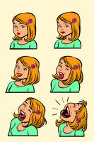 Redhead or blonde woman laughing stage set collection
