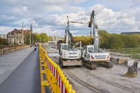 Sanierungsarbeiten auf der Augustusbrücke in Dresden
