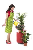 Woman giving water to plants in interior