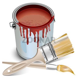 Tin with paint and brushes