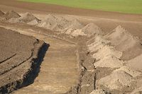 Trench digged on a land