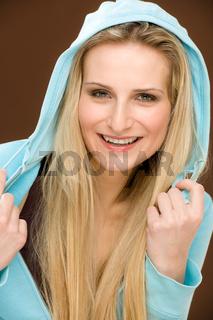 Portrait fashion happy woman wear hood