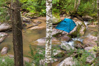 Tourist tent on a boulder in the middle of Belokurikha mountain river