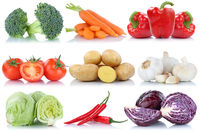 Gemüse Tomaten Kartoffeln Karotten Paprika Salat Collage Freisteller freigestellt isoliert