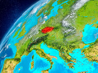Space view of Czech republic in red