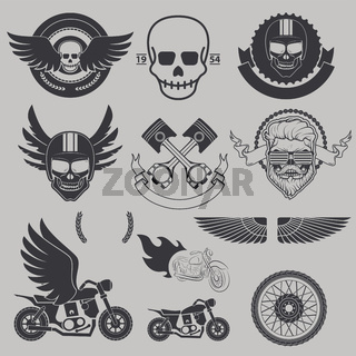 Motorcycle race, motorcycle club, biker club, motorcycle shop logo template. Emblem, label, or badge template. Design elements in vector.