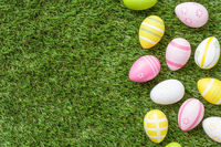 Easter eggs on the grass with copyspace