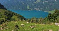 Turquoise lake Klontalersee in summer. Beautiful lake in Switzerland.