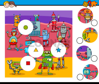 match pieces puzzle with robots