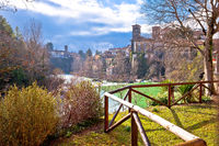 Italian heritage in Cividale del Friuli Natisone river canyon and ancient skyline view