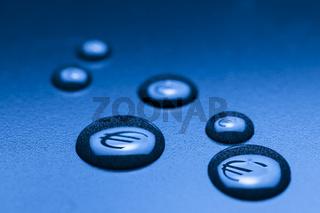 six EURO drops on blue