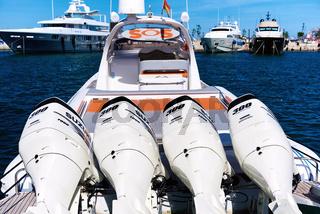 Four Suzuki DF300AP engines on inflatable rib boat. Spain