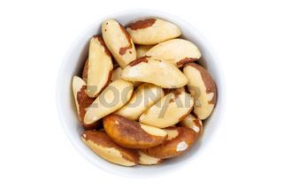 Paranüsse Nüsse von oben isoliert freigestellt Freisteller