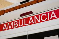 Closeup of  ambulance car description (spanish: Ambulancia)