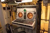 Radar screens in an old navy vessel