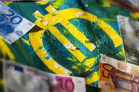 Euro-Zeichen auf Acryl nah