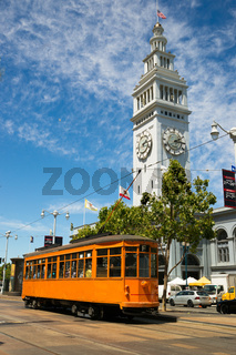 Orange Trolley Car The Embarcadero Downtown San Francisco California
