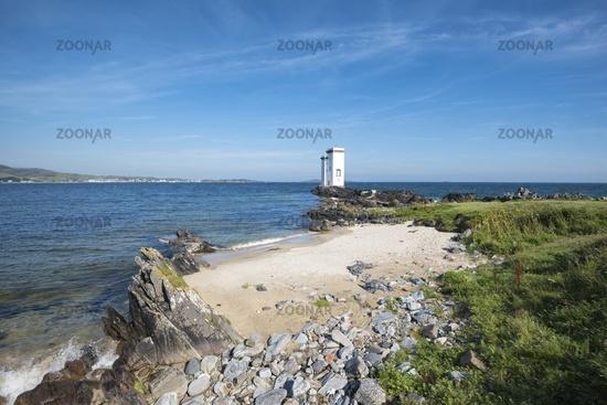 Der Leuchtturm bei Port Ellen auf der Landspitze Carraig Fhada, Isle of Islay