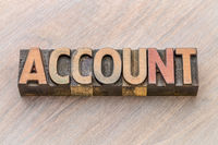 account word abstract in wood type