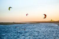 Jose Ignacio, Uruguay: Kiters on the Garzon Bay are using last summer days