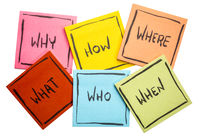 brainstorming or decision making questions on sticky notes
