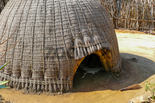 Swazi tribe hut in Swaziland entrance close up