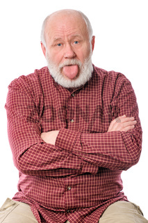 Cheerfull senior man isolated on white