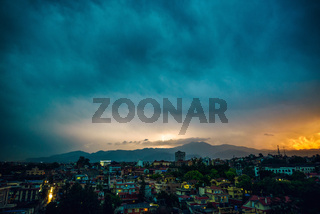 Thunderstorm over Patan at sunset