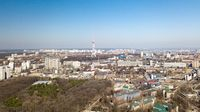 Panoramic view of the city of Kiev with modern houses and a park, Kiev, Ukraine, aerial view