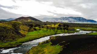 Panorama of Huseyjarkvisl source river valley at sunset ,Iceland