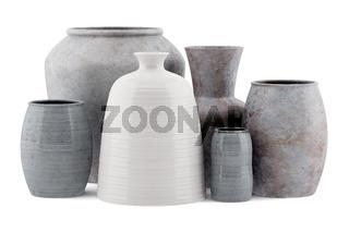 six ceramic vases isolated on white background
