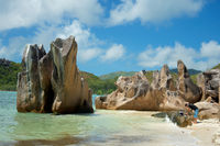 Seychellen Insel Curieuse mit den berühmten Granitfelsen