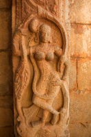Tourist indian landmark Ancient ruins in Hampi. Hampi Bazaar, Hampi, Karnataka, India