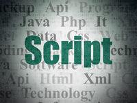 Programming concept: Script on Digital Data Paper background