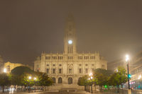 Foggy Porto City Hall, Portugal