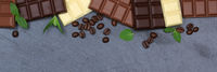 Schokolade Tafel Schiefertafel Essen Banner Textfreiraum von oben