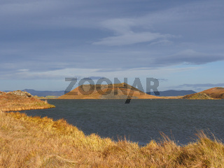 Pseudokrater im Herbst am See Myvatn in Island