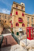 Beautiful residential area in old town of Valletta,Malta