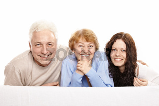 Family from three persons on a white background