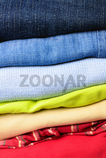 stack of multicolored men's clothing