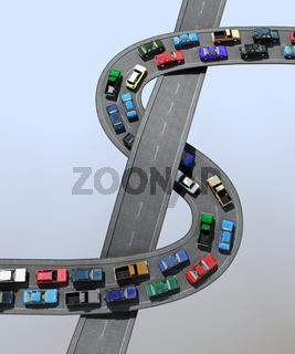 3D illustration of a traffic jam