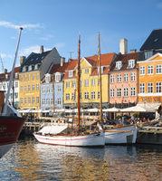 The ships moored at the pier in Nyhavn, Copenhagen.