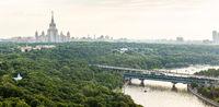 Panorama Sparrow Hills, Moscow University, Moscow River and Luzhniki Bridge