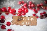 Burnt Label, Snow, Snowflakes, Text Goodbye 2017