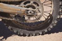 Ait Saoun, Morocco - February 22, 2016: Close-up of bike tyre