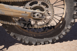 Ait Saoun, Morocco - February 22, 2016: Close-up of bike tyre