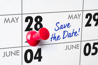 Wall calendar with a red pin - May 28