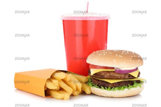 Double Cheeseburger Hamburger Menu Menü Menue Pommes Frites Getränk Freisteller freigestellt