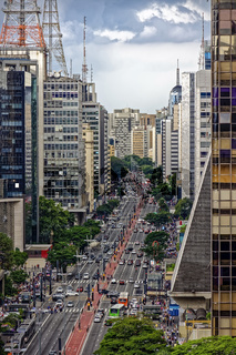 Dark rain clouds over Paulista avenue